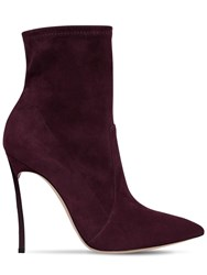 Casadei 100Mm Blade Stretch Suede Ankle Boots Bordeaux