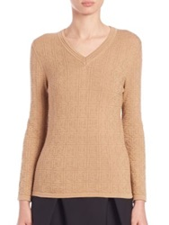 Carolina Herrera Day Collection Cashmere Silk Logo Sweater Camel