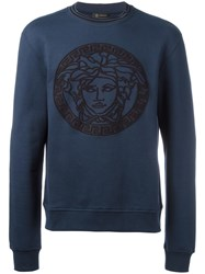 Versace Embroidered Medusa Sweatshirt Blue