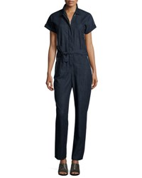 Rag And Bone Tiggy Short Sleeve Chambray Jumpsuit Indigo