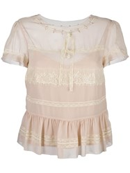 Red Valentino Lace Insert Shortsleeved Blouse Pink Purple