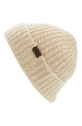 Hickey Freeman Men's Cuffed Cashmere Beanie White Natural