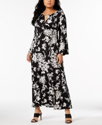 Ny Collection Plus And Petite Plus Size Printed Keyhole Maxi Dress Black Tuliptrend