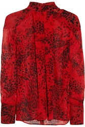 Balmain Animal Print Silk Georgette Blouse Red