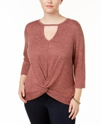 Almost Famous Trendy Plus Size Twisted Keyhole Top Heathered Baked Blush