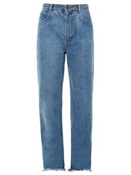 Chloe Frayed Hem Wide Leg Jeans Denim