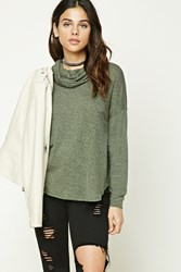 Forever 21 Marled Cowl Neck Sweater Olive
