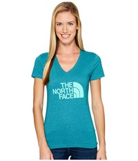 The North Face Short Sleeve Half Dome V Neck Tee Harbor Blue Heather Bermuda Green Women's T Shirt