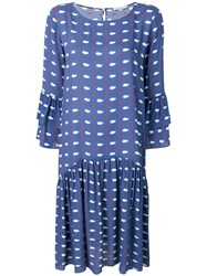 Vivetta Clouds And Lips Babydoll Dress Blue