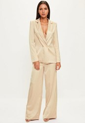 Missguided Nude Satin Wide Leg Trousers Champagne