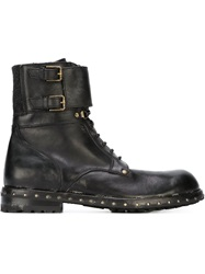 Dolce And Gabbana Ankle Strap Utility Boots Black