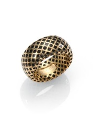 Gucci Diamantissima 18K Yellow Gold And Enamel Ring Black Gold