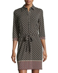 Max Studio Circle Print 3 4 Sleeve Belted Shirtdress Black Garnet