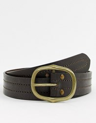 New Look Leather Belt With Oval Buckle In Brown