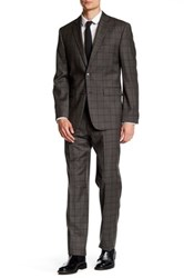 Vince Camuto Taupe Windowpane Two Button Notch Lapel Modern Fit Wool Suit Brown