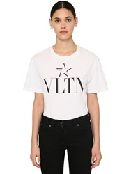 Valentino Star Vltn Print Cotton Jersey T Shirt White