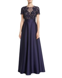 Escada Floral Lace Bodice Full Satin Skirt Evening Gown Blue