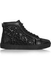 Rene Caovilla Crystal Embellished Lace And Leather High Top Sneakers Black