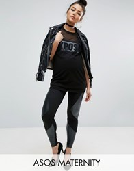 Asos Maternity Leather Look Panelled Legging Black