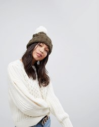 Brave Soul Sould Cable Hat With Knitted Bobble In Khaki Khaki Cream Green