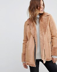 Religion Oversized Biker Jacket With Faux Fur Lining Nude Tan