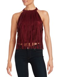 Design Lab Lord And Taylor Open Back Fringe Halter Top