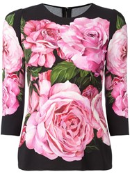 Dolce And Gabbana Rose Print Top Black