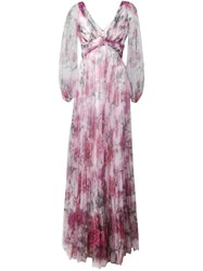 Marchesa Notte Floral Pleated Evening Dress Pink