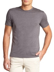 Isaia Silk And Cotton Crewneck Tee Grey Blue