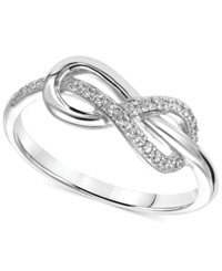 Macy's Diamond Accent Infinity Knot Promise Ring In Sterling Silver