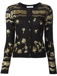 Prabal Gurung Sequin Embroidery Cardigan Black