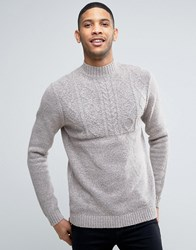 Asos Cable Jumper With Turtle Neck In Soft Yarn Grey Blush