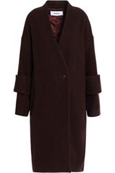 Chalayan Double Breasted Wool Blend Coat Burgundy
