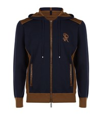 Stefano Ricci Croc Trimmed Cashmere Hoodie Male Navy