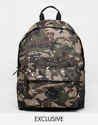 Reclaimed Vintage Camo Backpack With Paint Splatter Green