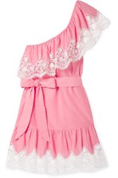 Miguelina Summer One Shoulder Crochet Trimmed Linen Mini Dress Pink