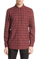 Men's Obey 'Jasper' Slim Fit Check Woven Shirt Heather Burgundy