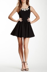 Gracia Formal Trim Skater Dress Black