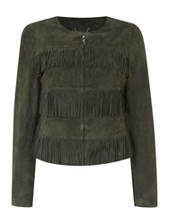 Biba Real Suede And Leather Jacket Khaki