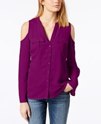 Inc International Concepts Cold Shoulder Blouse Created For Macy's Purple