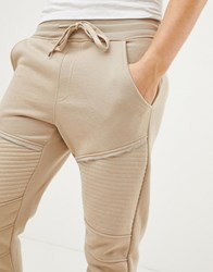 Brave Soul Skinny Fit Ribbed Zip Joggers Stone