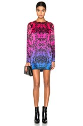 Pierre Balmain Printed Mini Dress In Animal Print Pink Ombre And Tie Dye