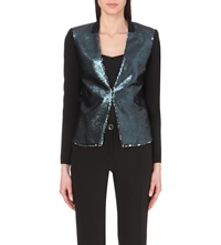 Ted Baker Perola Two Tone Sequinned Blazer Blue
