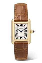 Cartier Tank Louis 22Mm Small 18 Karat Gold And Alligator Watch One Size