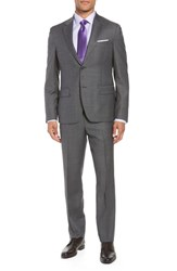 Nordstrom Big And Tall Shop Trim Fit Sharkskin Wool Suit Mid Grey