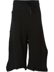Lost And Found Side Slit Cropped Track Pants Black