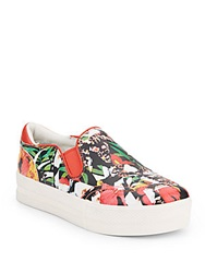 Ash Jungle Floral Leather Slip On Sneakers Multi