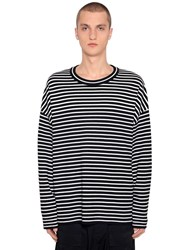 Juun.J Oversize Striped Wool Knit Sweater Black