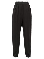 Nili Lotan Linda Pinstriped Wool Blend Tapered Trousers Black White