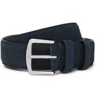 Loro Piana 3.5Cm Midnight Blue Suede Belt Blue